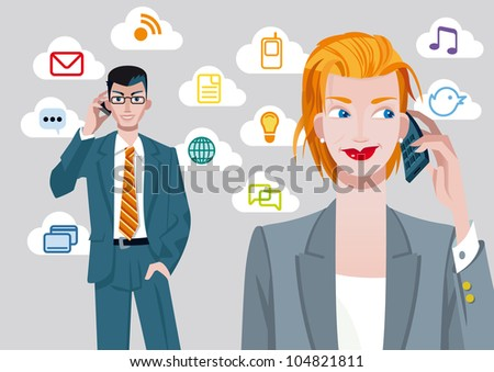 Caucasian businesswoman and businessman talking on mobile phone. Behind their, there are a set of communication icons.