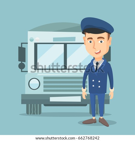 Caucasian cheerful school bus driver standing in front of yellow bus. Smiling school bus driver in uniform. Cheerful school bus driver. Vector flat design illustration. Square layout.