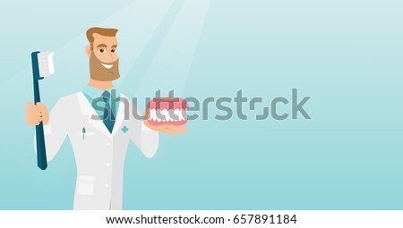 Caucasian dentist showing a dental jaw model and a toothbrush. Young dentist holding a dental jaw model and a toothbrush in hands. Dentistry concept. Vector flat design illustration. Horizontal layout