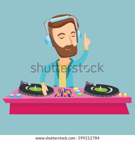 Caucasian DJ in headphones at the party in night club. Young hipster DJ with beard mixing music on turntables. DJ playing and mixing music on deck. Vector flat design illustration. Square layout.
