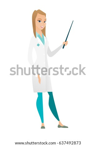 Caucasian doctor in medical gown holding pointer stick. Full length of young doctor with pointer stick. Doctor pointing with pointer stick. Vector flat design illustration isolated on white background