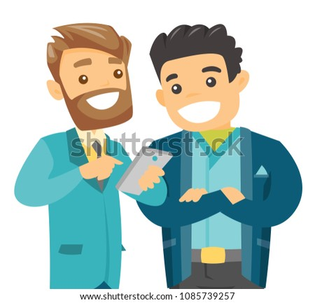 Caucasian friends looking at smartphone. Happy male friends looking at smartphone and laughing. Vector cartoon illustration isolated on white background.
