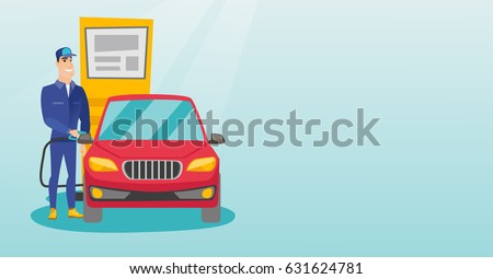 Caucasian gas station worker filling up fuel into the car. Smiling worker in workwear at the gas station. Young gas station worker refueling a car. Vector flat design illustration. Horizontal layout.