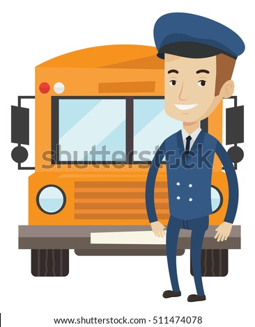 Caucasian happy school bus driver standing in front of yellow bus. Smiling school bus driver in uniform. Cheerful male school bus driver. Vector flat design illustration isolated on white background.