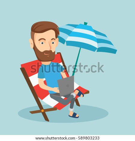 Caucasian hipster business man working on the beach. Business man sitting in chaise lounge under beach umbrella. Business man using laptop on the beach. Vector flat design illustration. Square layout.