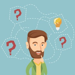Caucasian hipster businessman having creative idea. Business man standing with question marks and idea light bulb above his head. Business idea concept. Vector flat design illustration. Square layout.