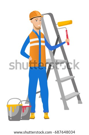 Caucasian house painter in uniform holding paint roller in hands. Young smiling house painter standing near step-ladder and paint cans. Vector flat design illustration isolated on white background.
