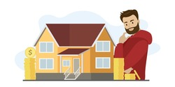 Caucasian investor man thinks about mortgage. Buying modern property, loan. Credit slavery. Difficult decision. Investing in real estate. Mortgage concept banner. Flat vector illustration