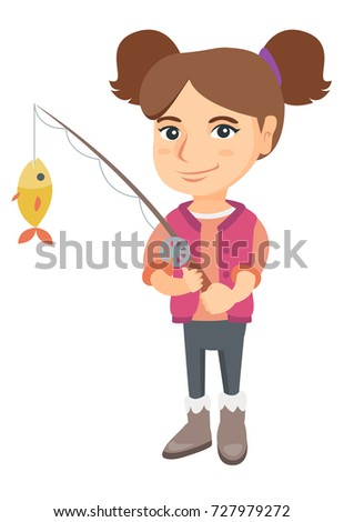 Caucasian little girl fishing. Full length of smiling girl holding fishing rod with fish on a hook. Vector sketch cartoon illustration isolated on white background.