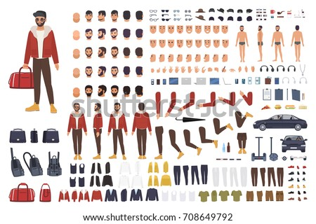 Caucasian man creation set or DIY kit. Collection of flat cartoon character body parts, facial gestures, hairstyles, clothing isolated on white background. Vector illustration. front, side, back view.