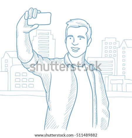 caucasian man making selfie on