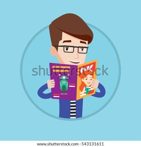 caucasian man reading a