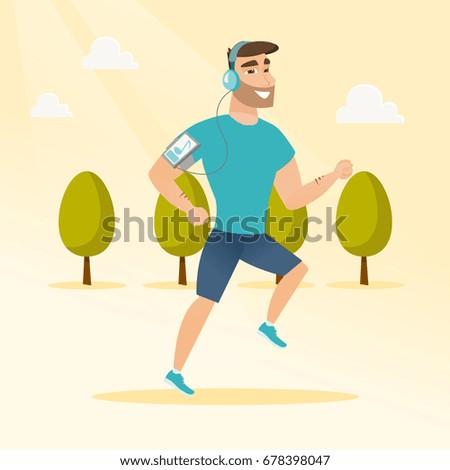caucasian man running with