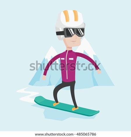 caucasian man snowboarding on