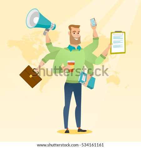 Caucasian man with many legs and hands coping with multitasking. Businessman doing multiple tasks. Multitasking business person. Multitasking concept. Vector flat design illustration. Square layout.