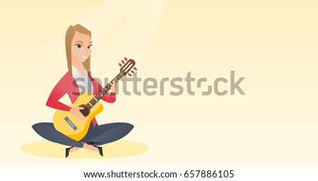 caucasian musician sitting with