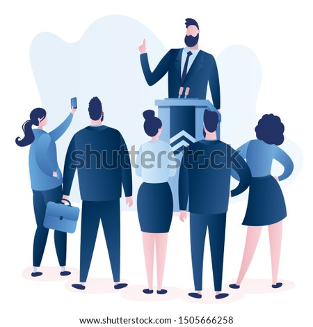 Caucasian Politician speaking.Male speaker giving speech from tribune with microphones and group of people listens to politics.Human characters isolated on white background. Vector trendy illustration