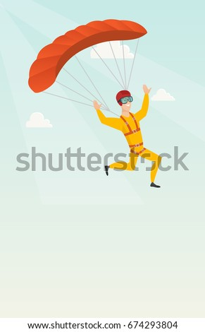 caucasian skydiver flying with