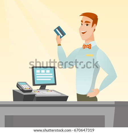 Caucasian smiling cashier standing at the checkout and holding a credit card. Young cheerful cashier making payment by credit card. Vector flat design illustration. Square layout.