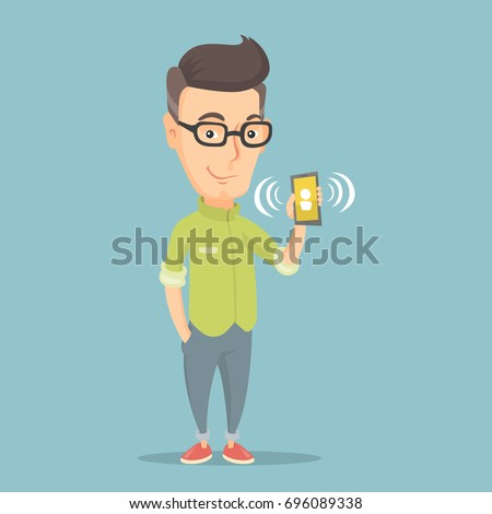 Caucasian smiling man holding ringing mobile phone. Happy man answering a phone call. Man standing with a ringing phone in hand. Vector flat design illustration. Square layout.