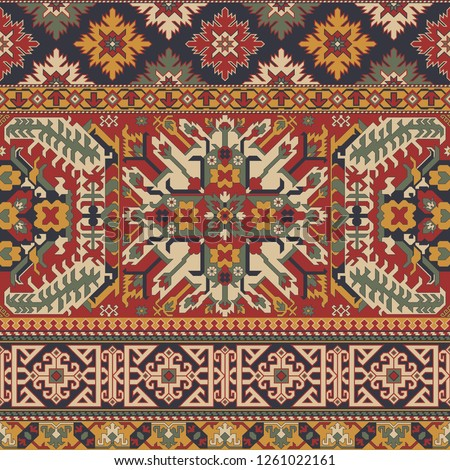 Caucasian style antique rug motifs patchwork vector seamless pattern wallpaper