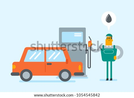 Caucasian white gas station worker filling up fuel into the car. Young gas station worker in workwear refueling a car. Vector cartoon illustration. Horizontal layout.