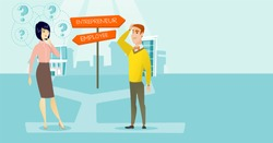 Caucasian white man and asian woman standing at the crossroad with two career pathways - entrepreneur and employee. People making a decision of career. Vector cartoon illustration. Horizontal layout.