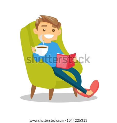 Caucasian white man relaxing with a book on the armchair. Young clever student drinking coffee and reading a novel at home. Vector cartoon illustration isolated on white background. Square layout.