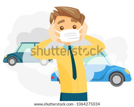 Caucasian white man wearing mask because of toxic air pollution while standing on the background of car with traffic fumes. Vector cartoon illustration isolated on white background. Horizontal layout.