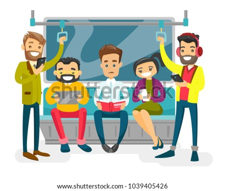 Caucasian white people reading book, using smartphones and tablet computer, listenig music in headphone in the metro. Group of young passengers traveling by metro. Vector isolated cartoon illustration