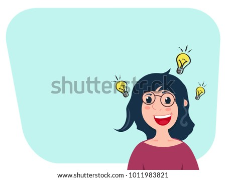 Caucasian woman cartoon character is inspired with idea for startup or good news. Lamp sign near her head. Selling or education startup ideas.