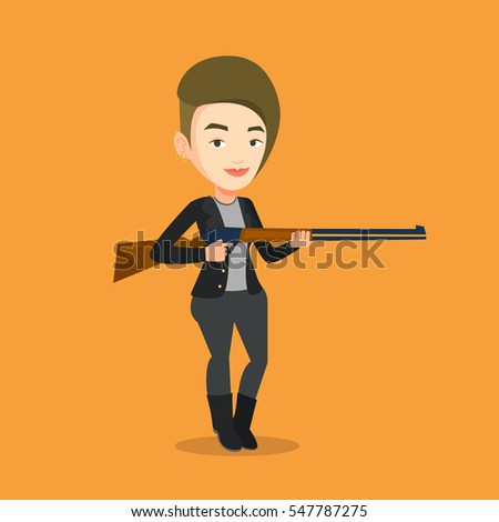 caucasian woman shooting skeet