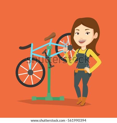 caucasian woman working in bike