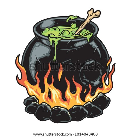 Cauldron of magic potion colorful concept in vintage style isolated vector illustration Stock photo ©