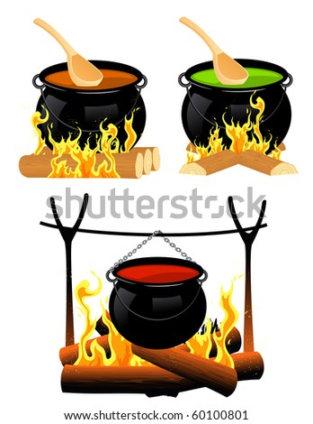 Cauldron set, vector illustration