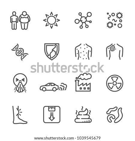 Cause of Cancer , Medical and healthcare icons set, Vector line icons