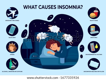 Causes of insomnia. Sleep disorder poster, girl cant sleep and reasons of insomnia vector infographic illustration. Uncomfortable pillow, heavy food, medicines and caffeine, smoking or alcohol