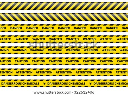 Caution and danger ribbon sign white background vector illustration