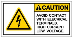 Caution Avoid Contact With Electrical Terminals High Current Low Voltage Symbol Sign ,Vector Illustration, Isolate On White Background Label. EPS10