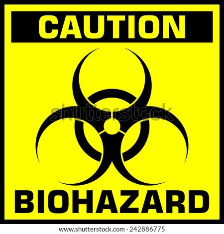 caution biohazard sign vector
