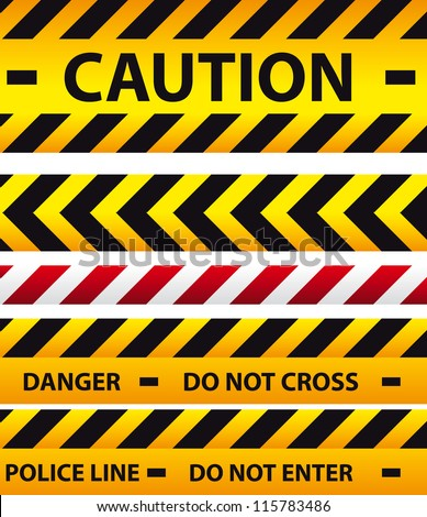 Caution, danger, and police tape attention