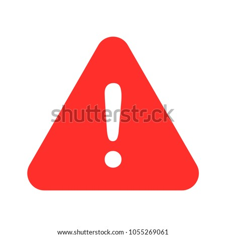 caution, exclamation mark white red color vector