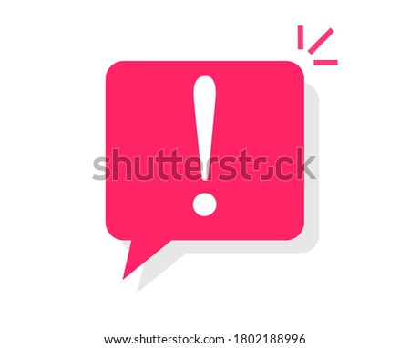 Caution notice warning message bubble icon vector, danger important information notification symbol, attention alert icon mark with exclamation sign flat cartoon, info error announce comment Stock photo ©