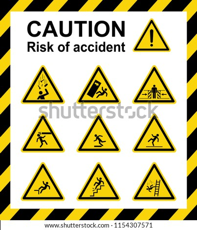 Caution : Risk of accident. Sign ,symbol ,vector ,illustration