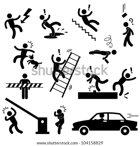 Caution Safety Danger Electricity Shock Slippery Fall Car Accident Icon Sign Symbol Pictogram - stock vector