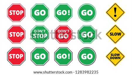Caution school kids, stop and go area sign and slow down icon Do not enter or cross zone signs Don't stop dont entry road No walk or walking icons Traffic halt pictogram Safety first to pass over Photo stock ©