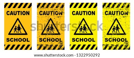 Caution school sign signs school bus Back to school game Vector fun funny beware children roadsign Safety first pedestrian Conceptual play traffic Slow down children at play kids zone children playing