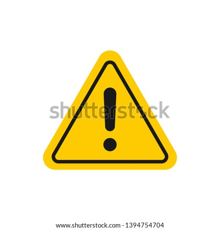 Caution sign. Hazard warning attention sign with exclamation mark. Danger triangle symbol for mobile and web concept Stockfoto ©