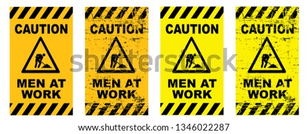 Caution Stop halt allowed area Men at work in progress Back, yellow tape signs Progress security warning zone sign Safety first day Vector symbol icon Beware admittance  under construction tapes icons