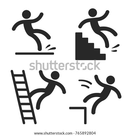Caution symbols with stick figure man falling. Wet floor, tripping on stairs, fall down from ladder and over the egde. Workplace safety and injury vector illustration.